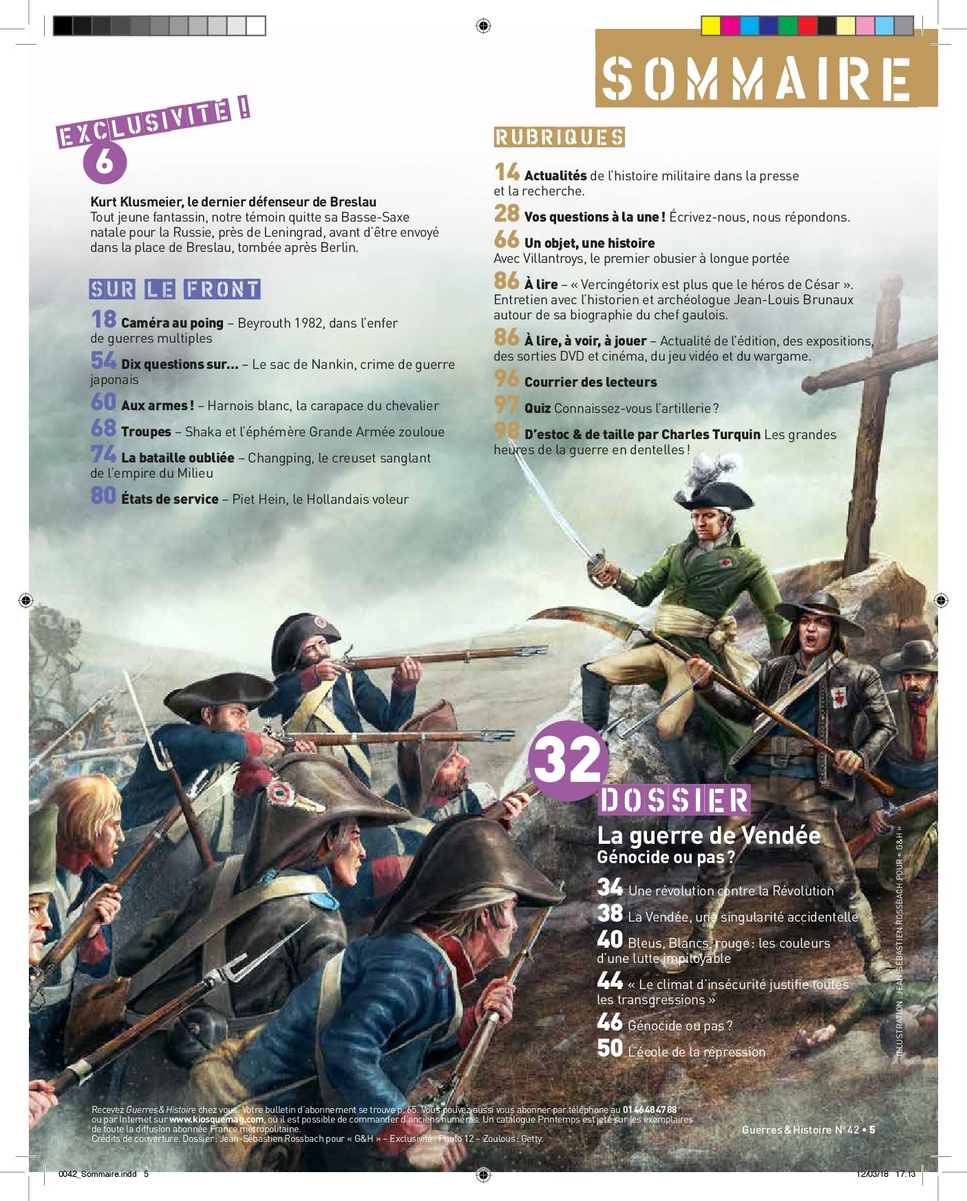 Sommaire guerres et Histoire n°42